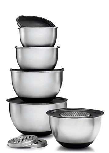 Sagler Stainless Steel Mixing Bowls Set of 5, with Lids and 3 kind of graters