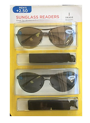 Image Readers Mens 2 Pack Trendy Frame Reading Sunglasses Glasses Block Out Ray UV and Gamma w/ +2.50 Magnification Viewing Pleasure Black Brown W/ Carry Pouch Driving Outdoor Safe Curved - Image Sunglasses Brand