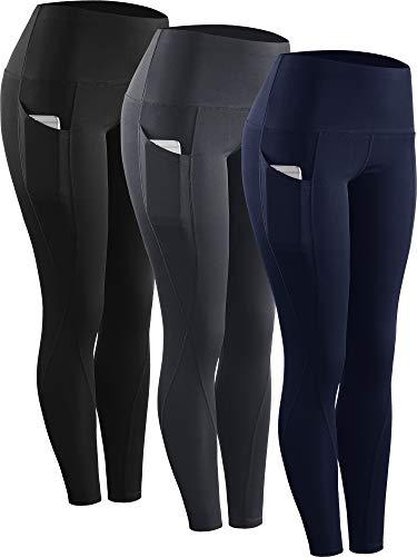 Neleus 3 Pack Tummy Control High Waist Running Workout Leggings,9017,Black,Grey,Navy Blue,US S,EU M