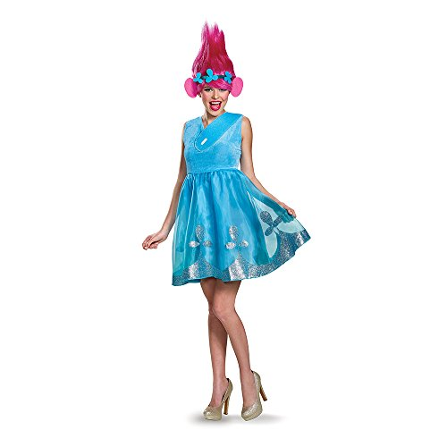 Disguise Women's Poppy Deluxe Adult W/Wig Costume, Blue Medium]()