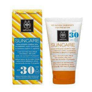 Apivita Light Texture Face Cream for Normal-dry Skin Spf30 with Sea Lavender & Propolis 50ml / 1.7oz