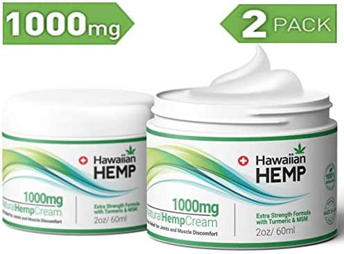 (2-Pack) Hemp Cream Pain Relief Lotion 1000mg - Helps Prevent Joint, Muscle & Pain - with Hemp Extract, Turmeric & MSM - Advanced Hemp Oil Extract Pain Cream