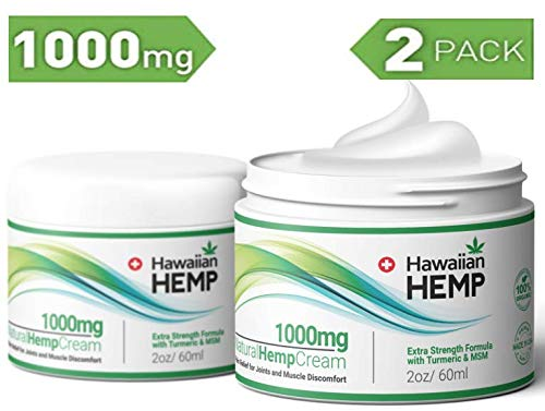 ((2-Pack) Hemp Cream Pain Relief Lotion 1000mg - Helps Prevent Joint, Muscle & Pain - with Hemp Extract, Turmeric & MSM - Advanced Hemp Oil Extract Pain Cream )