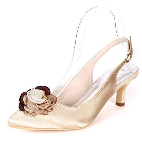 L Gatito Las Hebilla 6cm SatéN Heel Flores CordóN De De YC De Zapatos Champagne Seda De del Mujeres La OtoñO La Plataforma Tarde Boda De ranxgHrq0X