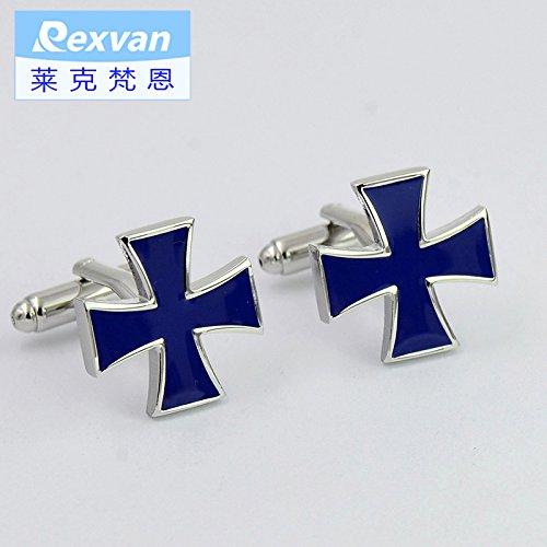 Enamel Elegant Cufflinks - Elegant blue enamel cufflinks Cross Clover Men French cuffs cuff nail business dress shirt button for DIY Art Sewing Sew Tailor Clothing Craft