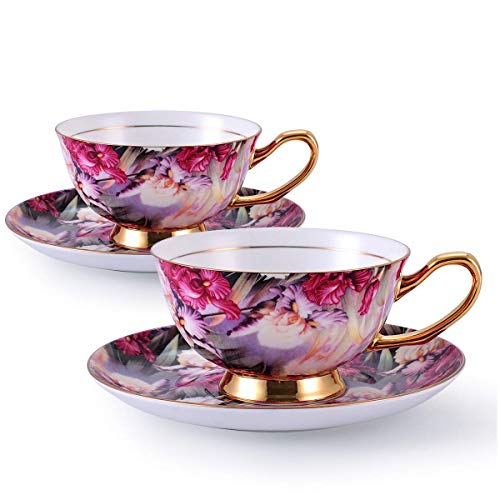 Kissweetime Bone China Tea Cups and Saucers Coffee Cups Porcelain Tea Cup Set - Espresso Mug Cappuccino Cups, Set of 2(7 oz) With Spoon and Gift Box