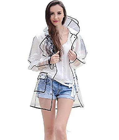 Ducomi/® Mademoiselle Mantella Antipioggia Impermeabile Trasparente da Donna con Cappuccio Long, Pink Sfoggia il tuo Outfit Migliore anche sotto la Pioggia