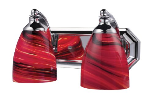 Elk 570-2C-A 2-Light Vanity in Polished Chrome and Autumn Glass