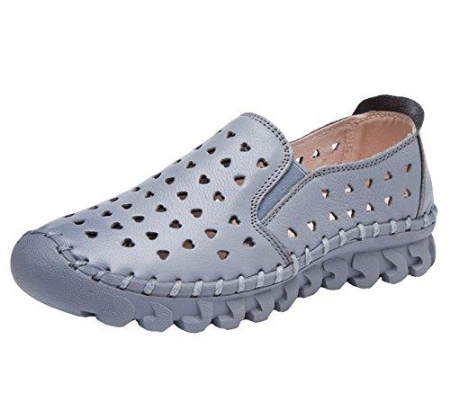 Kvinnor Dagdrivaren Lägenheter Mode Urholka Drivande Loafers Läder Slip-on Tillfälliga Platta Skor Ljusgrå