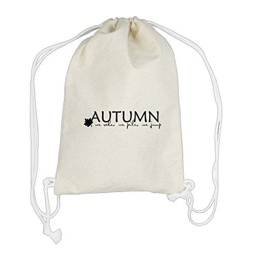 Autumn We Rake We Pile We Jump Canvas Cotton Drawstring Bag Backpack