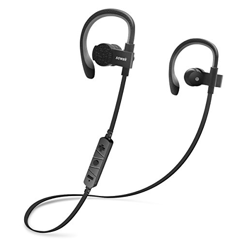 Bluetooth Headphones, Wireless Headphones SOWAK in Ear Wireless Bluetooth Earphones aptX Stereo Sweatproof Earbuds for Sports Running Gym with Mic -Black