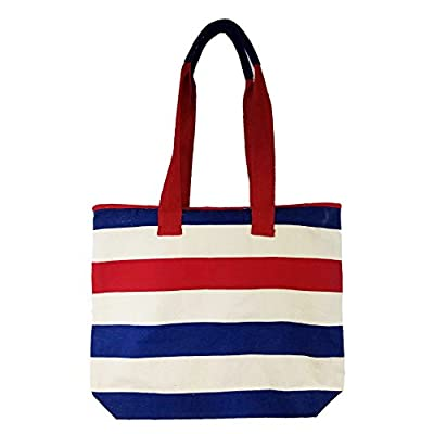 80%OFF Zipper Top Eco Friendly Stripe Beach Tote Bag