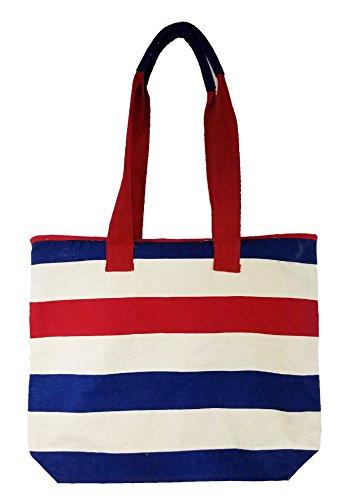 Zipper Top Eco Friendly Stripe Beach Tote Bag (17 x 16 x 4, Red-Blue-Natural )