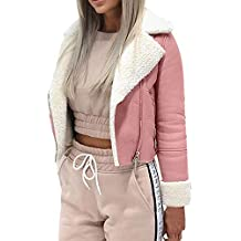 Women Lapel Faux Fur Leather Jackets Faux Wool Lamb Motorcycle Cardigans Coat