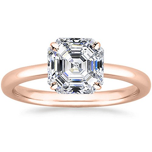 - 0.8 Carat 18K Rose Gold Asscher Cut Solitaire Diamond Engagement Ring F-G Color SI1 Clarity
