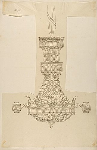 Design for a Crystal Chandelier Poster Print by Anonymous French 19th century (18 x - Century 19th Chandelier