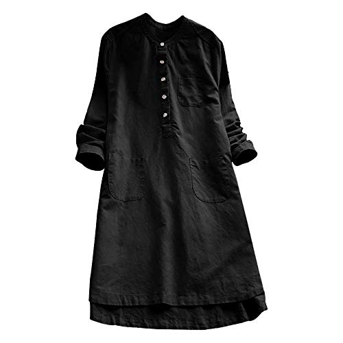 Women Vintage Long Sleeve Plain Maxi Dresses Pockets Casual Loose Button Tops Blouse Mini Shirt Dress Plus Size M-3XL (Black, Large) by Cealu