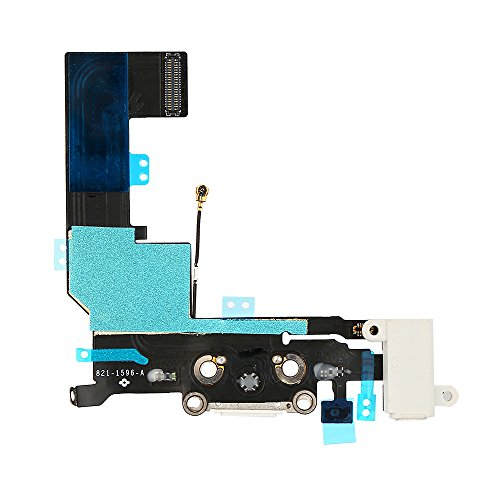 FirefixTM Charging Port Dock Connector Flex Cable + Microphone + Headphone Audio Jack Replacement Part for iPhone 5S white