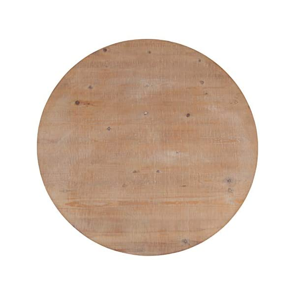 Kate and Laurel Bellmead Wood Round Pedestal Dining Table, Natural and White