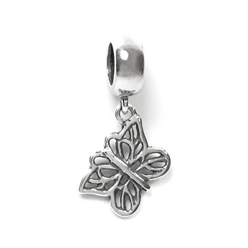 Antique 925 Sterling Silver Filigree Butterfly Dangle Bead Pendant For European Charm Bracelets
