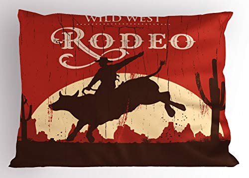 Ambesonne Vintage Pillow Sham, Rodeo Cowboy Riding Bull Wooden Old Sign Western Style Wilderness at Sunset Image, Decorative Standard King Size Printed Pillowcase, 36