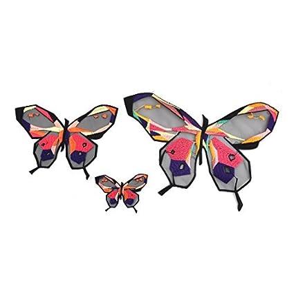 eDealMax Forma poliéster Mariposa DIY de Coser ropa Patch decoración del Applique del cordón 3 en