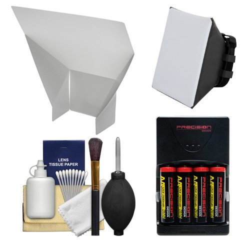 Essentials Bundle for Nikon SB-500, SB-700, SB-910 & SB-5000 AF Speedlight Flashes with Batteries/Charger + Soft Box Diffuser + Bounce Flash Reflector + Cleaning Kit