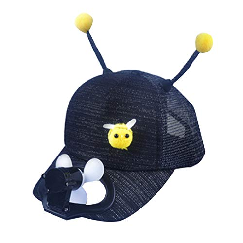jiumoji-Shoes Children Cartoon Bee Baseball Fan Cap Summer Sun Sports Outdoor USB Charging Shade Sunscreen Hat Birthday Gift for Child (✨✨-Black, 47-52CM)