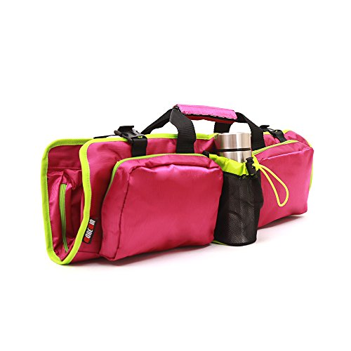 Yhao Mat Bag with Open Ends, Mobile Pocket and Water Bottle Holder For Yoga Accessories (Rose Red) End Pocket