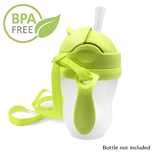 - 3-in-1 Straw Sippy Cup Conversion Kit for Comotomo Baby Bottle, 5 Ounce and 8 Ounce (Weighted Straw, Green)