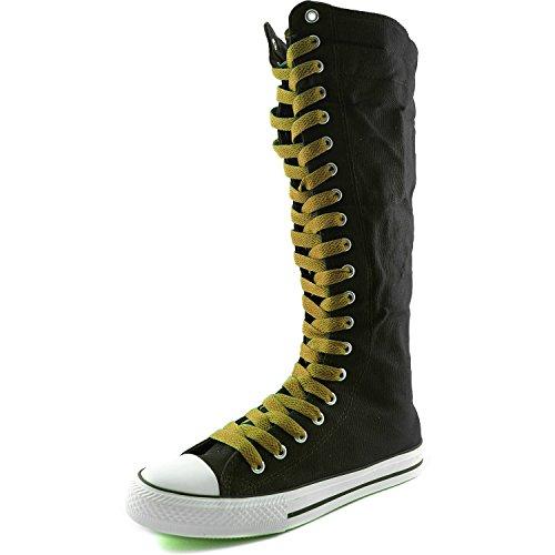 Dailyshoes Toile Femme Mi-mollet Bottes Hautes Casual Sneaker Punk Plat, Bottes Noires, Cognac Dentelle