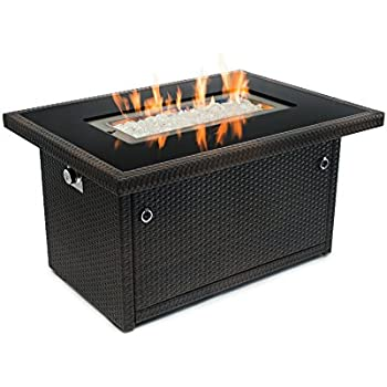 Outland Fire Table, Aluminum Frame Propane Fire Pit Table W/Black Tempered  Glass Tabletop