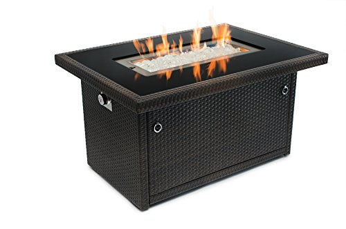 Outland Fire Table, Aluminum Frame Propane Fire Pit Table w/Black Tempered Glass Tabletop Resin Wicker Panels & Arctic Ice Glass Rocks, 35,000 BTU Auto-ignition (Outdoor Fire Pit Tables With Chairs)