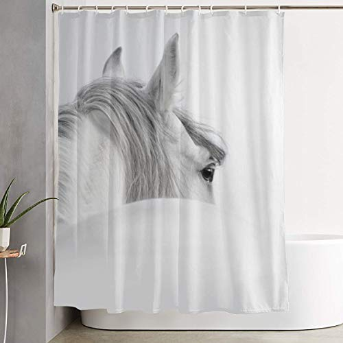 - Amonee-YL Gray Andalusian Horse in A Mist Polyester Fabric Shower Curtain Sets with 12 Hooks,Modern Bathroom Home Decor, Water Repellent 60
