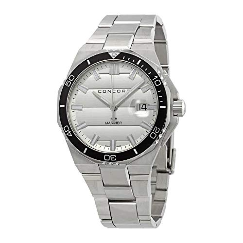 Concord Mariner Mens Stainless Steel Dive Watch - 43mm Analog Silver Face with Second Hand, Date and Sapphire Crystal Waterproof Quartz Diver Watch - Metal Band Swiss Made Diving Watch for Men 0320353