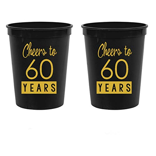 60th Birthday Black Stadium Plastic Cups - Cheers to 60 Years -