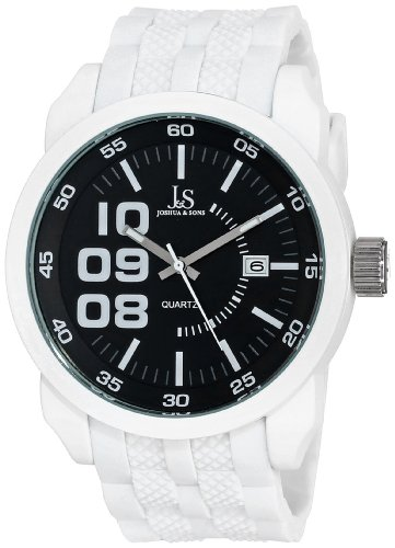 Joshua & Sons Men's JS63WT White Multifunction Quartz Watch with Black and White Accented Dial With White Bracelet