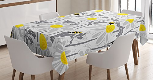 Ambesonne Grey Decor Tablecloth, Daisy Flowers with Bees in Spring Time Honey Petals Floret Nature Purity Bloom, Dining Room Kitchen Rectangular Table Cover, 52 W X 70 L inches, Yellow White