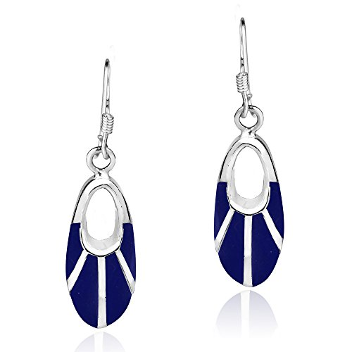 Celestial Oval Simulated Blue Lapis-Lazuli Inlay .925 Sterling Silver Dangle Earrings