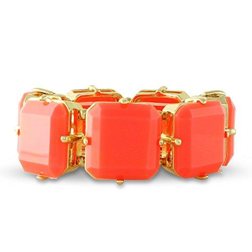 Resin Stretch Bracelet (Tangerine Resin Square Stretch Cuff Color Block Bracelet)