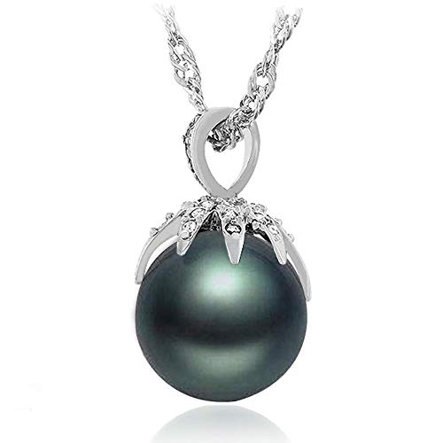 "Samie Collection 15mm Tahitian Black Shell Pearl Pendant Necklace with Cubic Zirconia in Silver -Tone Rhodium Plating for Women, 16""+2"""