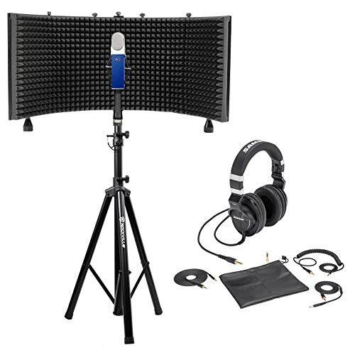 Blue Blueberry Condenser Studio Recording Microphone Mic+Shield+Stand+Headphones