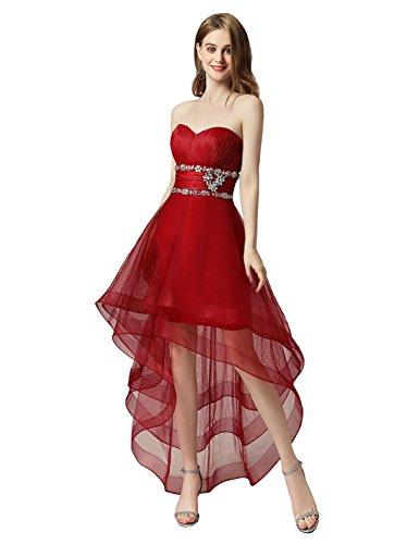 Abendkleid Ballkleid Asymmetrisch Clearbridal Herzausschnitt Damen Weinrot CAJ014 Tüll Partykleid gpTgxqAXw