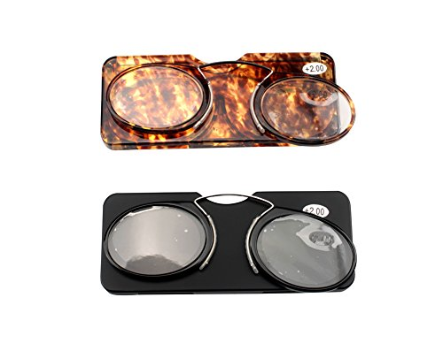 31f5f14c3c13 SOOLALA Women Men Go Everywhere SOS Pince Nez Style Nose Resting Pinching  Portable Wallet Reading Glasses