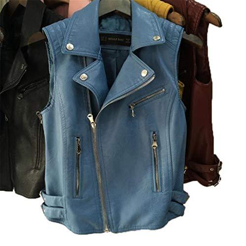 (KEYUEyurei Woman Soft Leather Vest Motorcycle PU Leather Lapel Short Section Totem Black Yellow Sleeveless Coat Jacket Photo Color1 L)