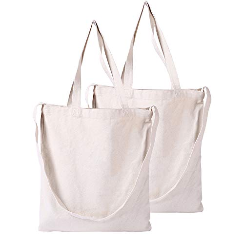 GoDeCho 2 Pack DIY Natural 12oz 100% Cotton Canvas Tote Bag with Shoulder Design, Reusable, Eco-Friendly Grocery Cross Bag - (Natural)