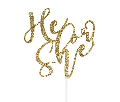 (Topline Society Handmade Gender Reveal Sparkles Cake Topper | Celebrate Baby Boy or Girl with Modern Glitter Calligraphy | Colored Party Decoration | Available in Gold or)