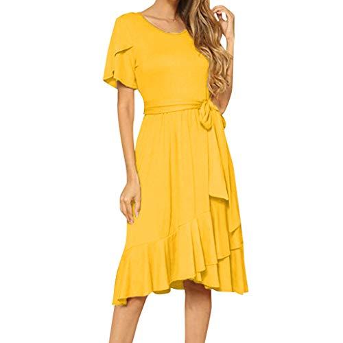 - IEasⓄn Mini Dress Women's Summer Sexy Plain Casual Short Sleeve Midi Dress with Belt Dress Yellow