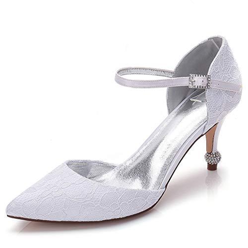 Elobaby Hochzeitsschuhe Absatz Party Sandalen 7 Kätzchen Frauen Dame Blumen 5 Spitze cm Schnalle Satin Kleid 66Zw5qr