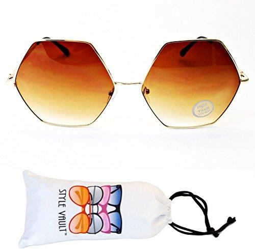 V3104-vp Oversize Octagon Metal Sunglasses (B3269F Gold-smoked brown, - Pentagon Octagon